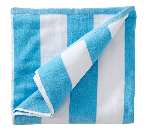 "Oversized Plush Velour 100% Cotton Beach Towel. Cabana Stripe Pool Towel for Adults. (Air Blue, 40"" x 70"")"