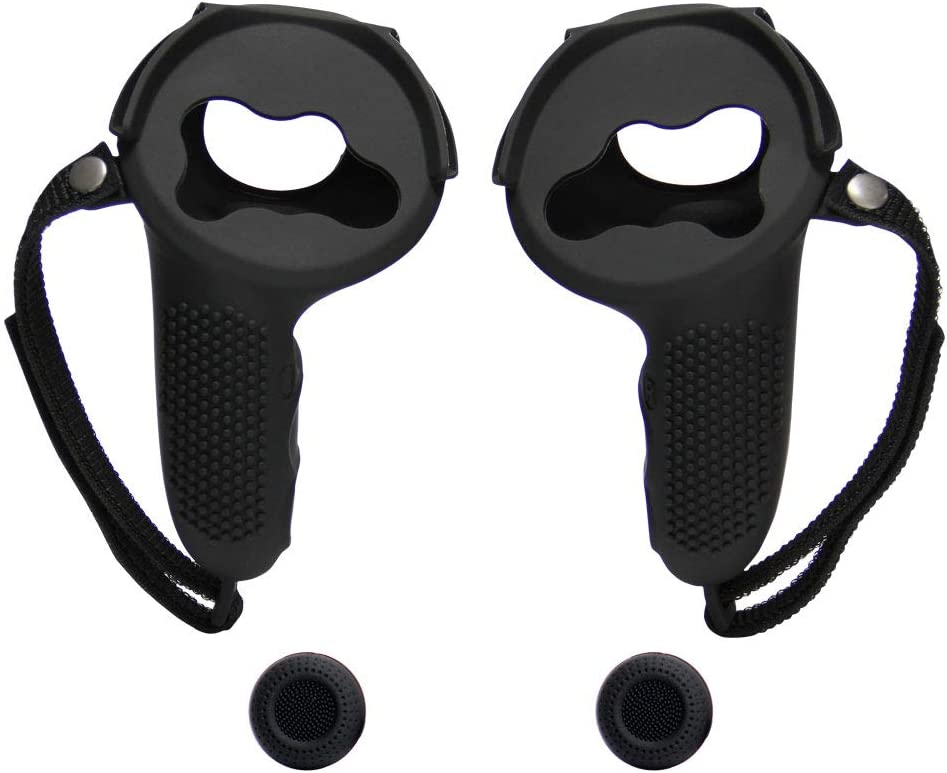 VRbrother Controller Grip Cover for Oculus Quest 2,Hand Strap Adjustable Wrist Knuckle Strapstrap,Handle Trackpad Protection Design,VR Cover Accessories,Black