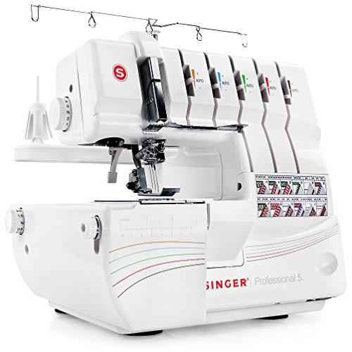 Singer Professional 5 14T968DC 2-3-4-5 Threaded Capability, Including Cover Stitch, Auto Tension, and Bonus Presser Feet Serger, White