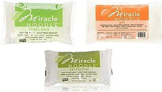 Miracle Noodle Shirataki Ziti, Fettuccini, and Angel Hair Variety Pack, Gluten-Free, Zero Carb, Keto, Vegan, Soy Free, Paleo, Blood Sugar Friendly, 7oz (Pack of 3)
