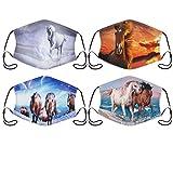 4 Pcs/Set Adult Face Masks 3D Horse Graphic Print Washable Reusable Face...