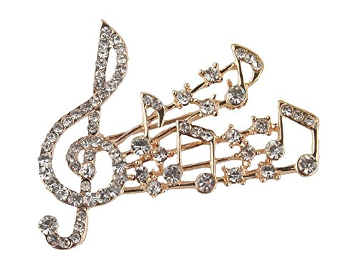 fashionjewellery4u Gold Crystal Diamante musica nota musicale spilla regalo badge Fancy Dress party gioielli per donne e ragazze
