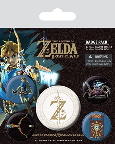 Preisvergleich Produktbild 1art1 The Legend of Zelda - Zelda Breath of The Wild Z Emblem,  1 X 38mm & 4 X 25mm Buttons Button Pack 15 x 10 cm