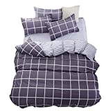 ughome King Duvet Cover, Gray Grid and White Striped...