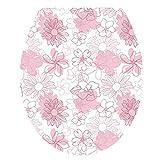 Delidraw Motivo Toilette Coperchio Etichetta Mare Mondo/Fiore Copertura Impermeabile Copriwater Adesivi Decorazione Bagno - 3206
