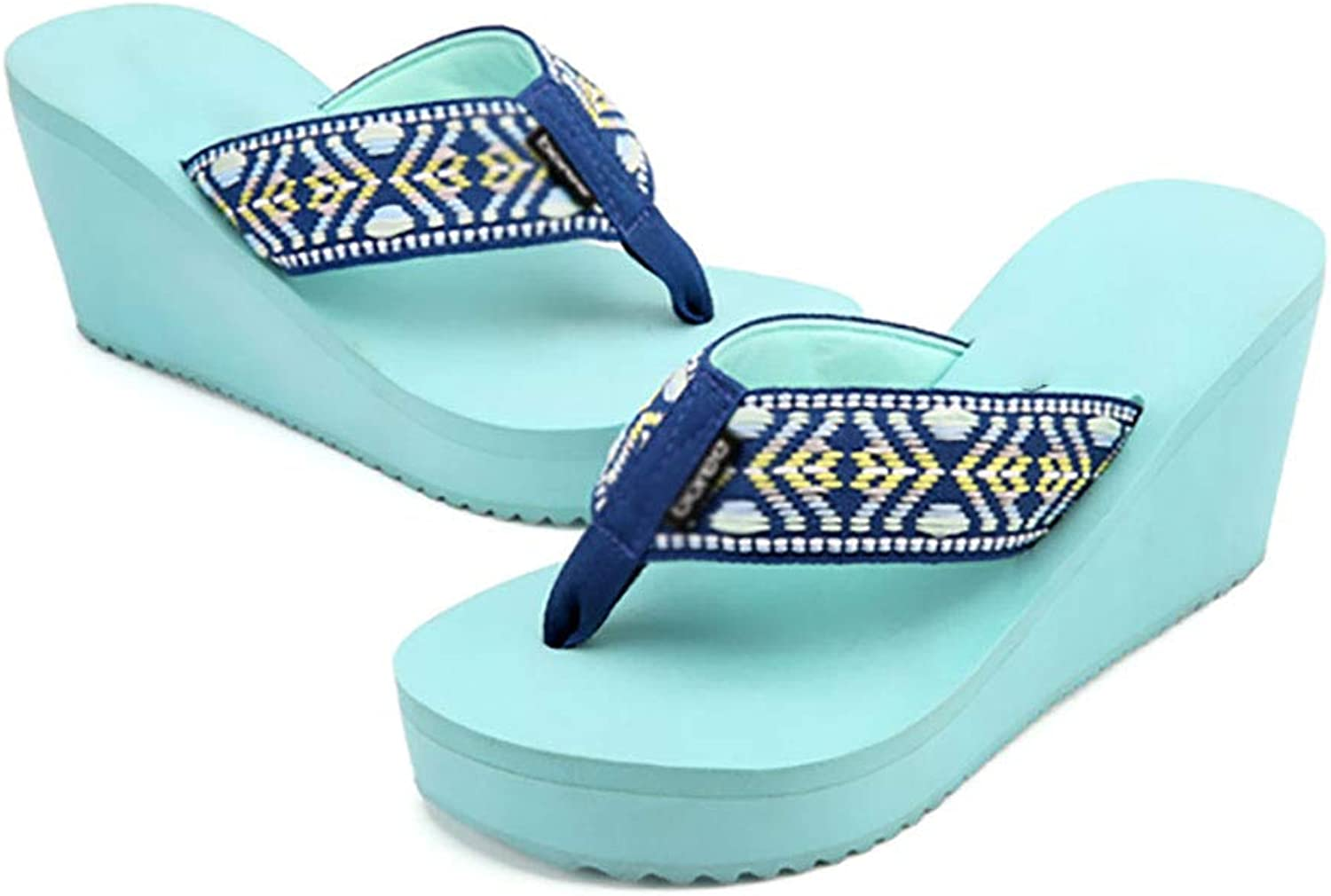 HUYP bluee Fashion Flip Flops Female Summer Girl Wear Increased Anti-Slip Sandals and Slippers (Size   5.5 US)