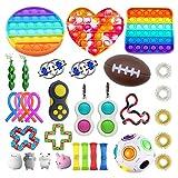 Ysimee Fidget Toy Set 20-31 Packs, Ketten, Antistress Spielzeug mit Pop it, Squeeze a Bean, Stressballs, Tangle Fidget zur Linderung von Angstzuständen für Kinder und Erwachsene(zufällige Farbe)