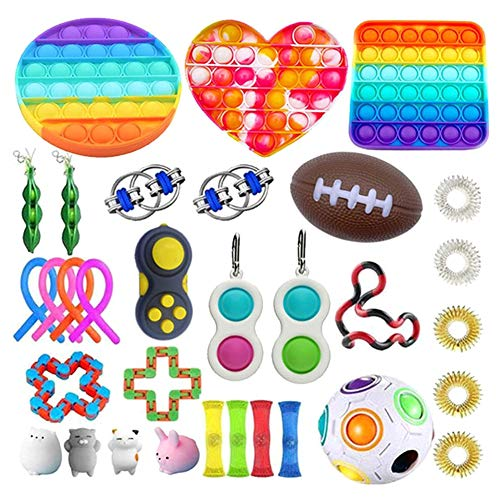 Fidget Sensory Toy Set, 32 confezioni giocattolo anti stress Kit,Pack di giocattoli sensoriali Fidget, compresa palla antistress, Pop Bubble, fagioli, fidget