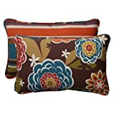 Pillow Perfect 499895 Outdoor/Indoor Annie Chocolate/Westport Teal...