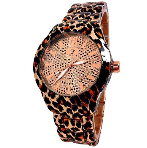 Reloj mujer acero diseño leopardo tigre Pantera escama marrón brillantes bronce oro
