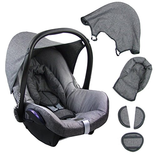 BAMBINIWELT Ersatzbezug für Maxi-Cosi CabrioFix 6-tlg. GRAU/HELLGRAU, Bezug für Babyschale,...