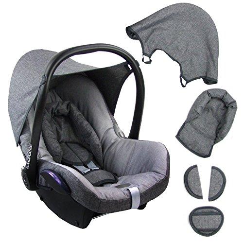 BAMBINIWELT Ersatzbezug für Maxi-Cosi CabrioFix 6-tlg. GRAU/HELLGRAU, Bezug für Babyschale, Komplett-Set XX