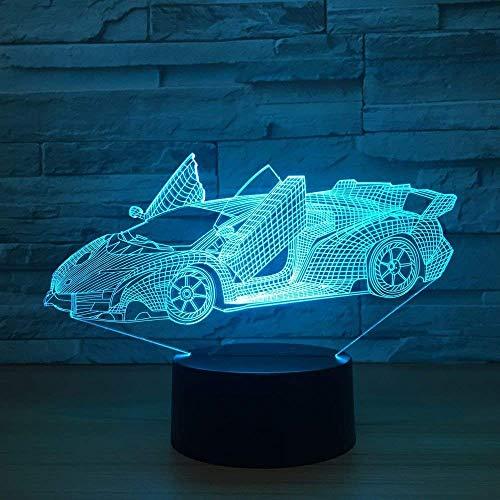 MQJ Racing Coche 3D Illusion Lámpara para Niños Niños Niñas Regalo 3D Noche Luz para Dormitorio Al Lado de la Mesa, 16 Color Cambiando Led Lámpara de Humor Lámpara de Mesa Lámpara de Mesa Regalo de L