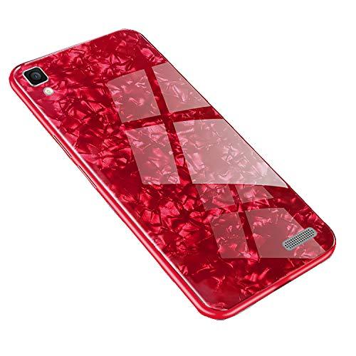 SHIEID Hülle für Oppo R7 Hülle,Marmor Gehärtetem Glas und Silikon Rand Hybrid Hardcase Stoßfest Kratzfest Handyhülle Dünn Hülle Cover für Oppo R7 (Rot)