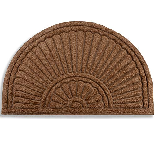 """Mibao Durable Rubber Doormat, 24""""x 36"""" Large Half Round Low-Profile Waterproof, Non Slip, Easy Clean, Washable Indoor/Outdoor Mats for Entrance"""