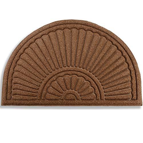Mibao Halbrunde Fußmatte, Schmutzfangmatte Fußabstreifer Fußabtreter,Rutschhemmend Waschbar Fußmatte,Sauberlauf-Matte,Türvorleger für Innen & Außen, 60 x 90 cm, Kaffee