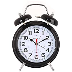 Maple's 6-Inch Double Bell Alarm Clock, Black