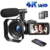 Video Camera 4K Camcorder with Microphone Vlogging Camera YouTube Camera Recorder Ultra HD 30FPS 48MP 3.0' IPS Touch Screen with Lens Hood & 2 Batteries