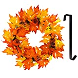 Funpeny Fall Wreath Maple, Artifical Hanging Fall Leaves Christmas Thanksgiving Decor with Hanger for Indoor and Outdoor Decoration