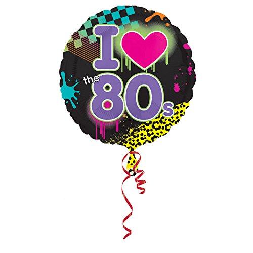 amscan Folien-Luftballon mit I Love The 80s Design, rund, 46 cm (Einheitsgröße) (Bunt)