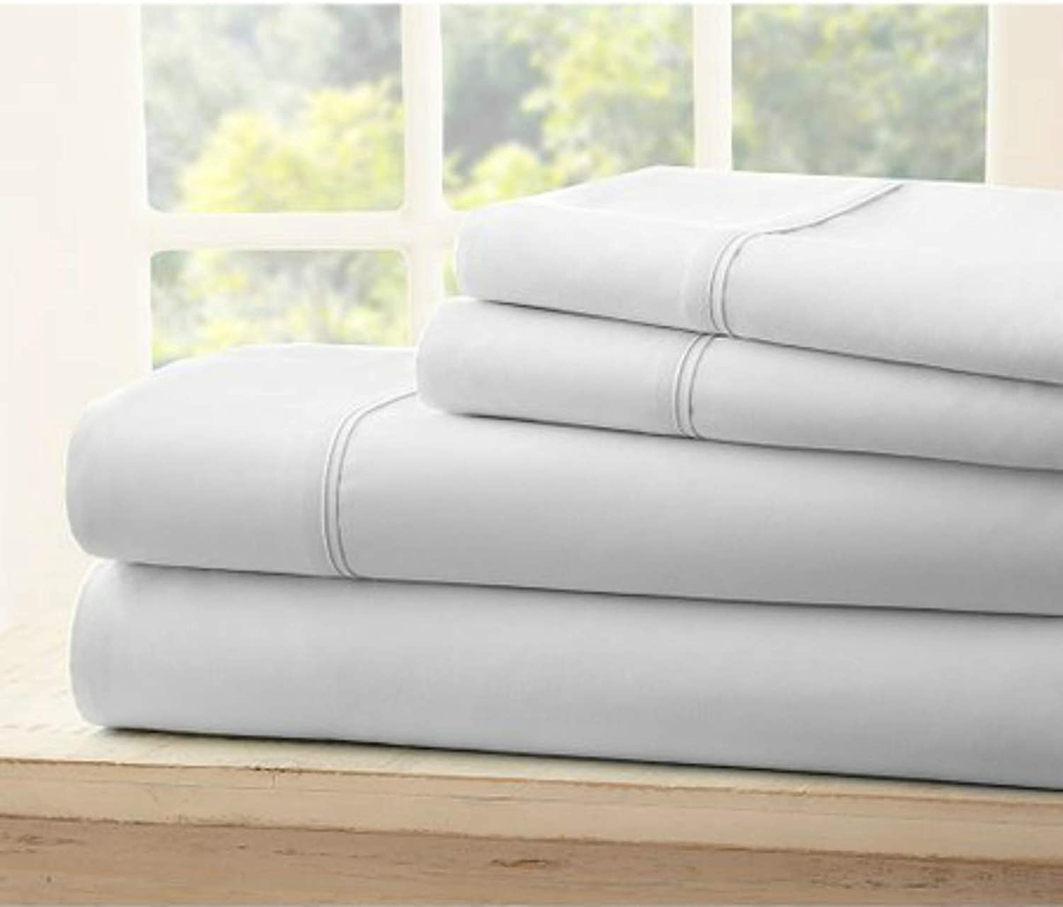 Fabricalicious Linen Bed Sheet Set Microfiber Wrinkle Fade and Stain Resistant 4Piece Bedding Set Twin XL Light Grey