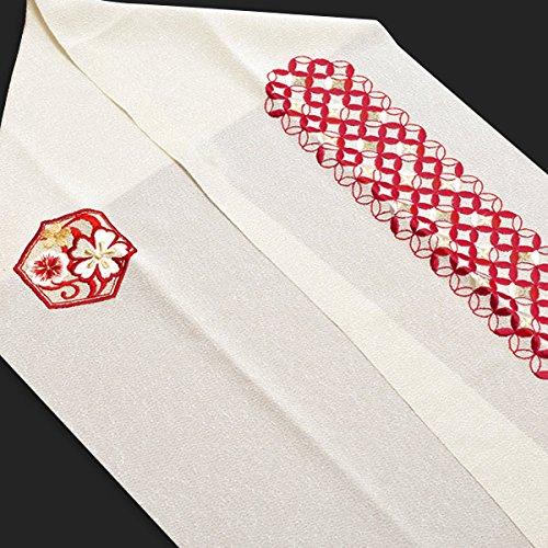 『[ 京都きもの町 ] 刺繍 半衿単品 赤色 七宝 亀甲 No.9』のトップ画像