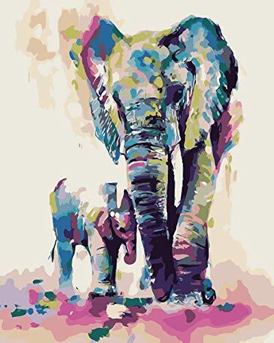 WOWDECOR DIY Malen nach Zahlen für Erwachsene Kinder Mädchen, Wald Elefant Familie Bunt 40x50 cm Vorgedruckt Leinwand-Ölgemälde (ohne Rahmen)