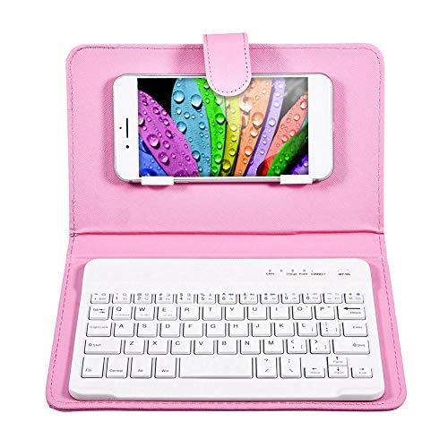 Funda y teclado Bluetooth, funda abatible universal con teclado Bluetooth inalámbrico con soporte para iOS/teléfonos móviles para Android, para un ancho de teléfono inteligente de 6-9,5 cm(rosado)