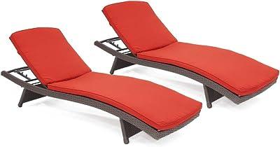 Amazon.com: Mimbre de resina, ajustable chaise tumbona con ...