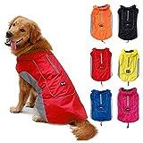 TFENG Reflektierend Hundejacke für Hunde, Wasserdicht Hundemantel Warm Gepolstert Puffer Weste Welpen Regenmantel mit Fleece (Größe XL, Rot)
