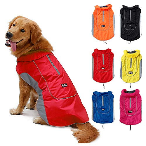 TFENG Reflektierend Hundejacke für Hunde, Wasserdicht Hundemantel Warm gepolstert Puffer Weste Welpen Regenmantel mit Fleece (Größe M, Rot)