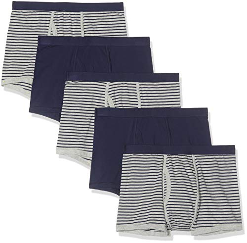find. Herren Shorts aus Baumwolle, Mehrfarbig (Navy & Grey Stripes/Navy), L ,5er Pack
