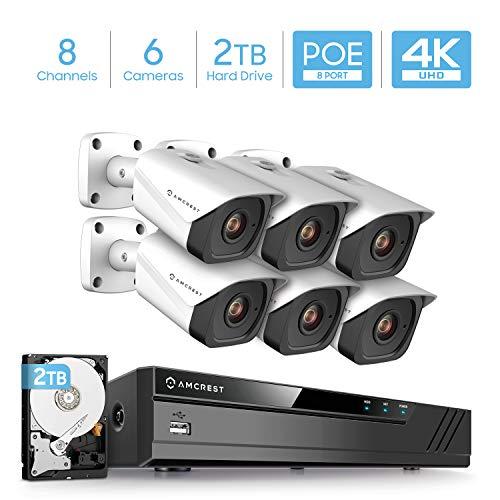 Fantastic Prices! Amcrest 4K Security Camera System w/ 4K 8CH PoE NVR, 6 x 4K (8-Megapixel) IP67 Wea...