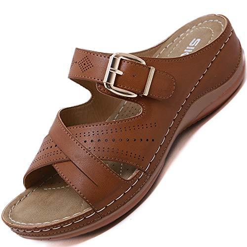 Rokiemen Women's Leather Sandals Summer Slip-on Leather Slides Open Toe Medium Wedge...
