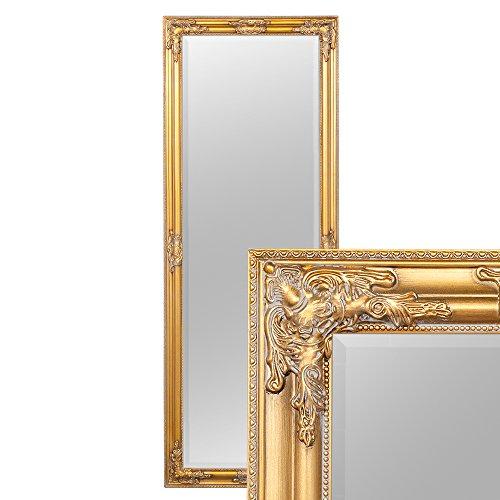 LEBENSwohnART Wandspiegel BESSA Gold-antik 160x60cm barock Design Spiegel pompös Holzrahmen