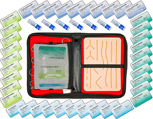 54 Pcs Complete Suture Practice Kit for Training Large Medical Pad with pre-Cut Wounds and Tools Improved Model with mesh Layer Vet Dentist Surgery Students