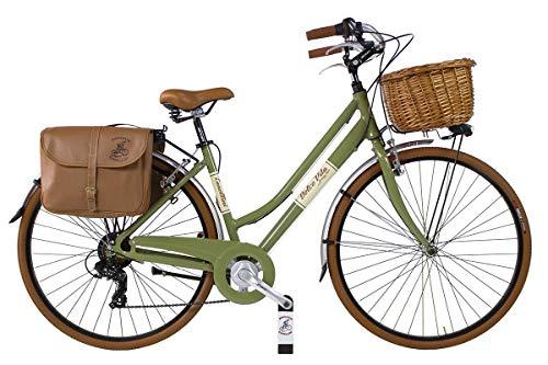 Canellini Dolce Vita by Bicicletta Via Veneto Bici Citybike CTB Donna Vintage Retro Alluminio Donna (50, Verde Oliva)