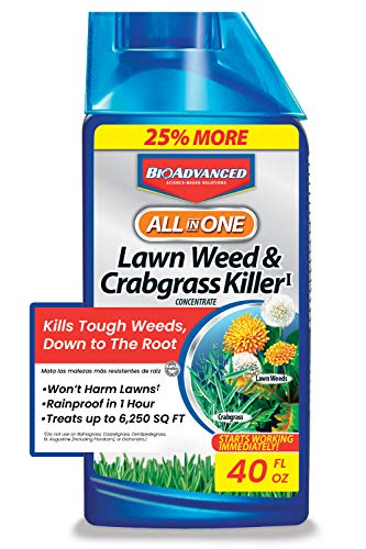 BioAdvanced 704140 All-in-One Lawn Weed and Crabgrass Killer Garden Herbicide, 40 oz, Concentrate