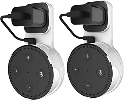 [2 Packs] TDRTECH Outlet Wall Mount Hanger Stand for Dot 2nd Generation (White/Black)