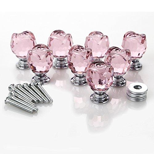 iDealhere 8 x Kristall Glas Rose Türgriffe Knopf Möbelknöpfe Moebelgriffe DIY Griff Schrank Kleiderschrank ziehen Sie 20mm (Pink)