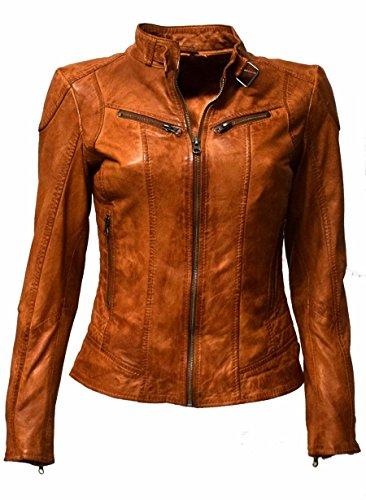 Zimmert Leren jas Dames Cognac Biker Frida Slim-Fit zachte lams-Nappa, bruin in used-look ritssluiting, opstaande kraag met gesp