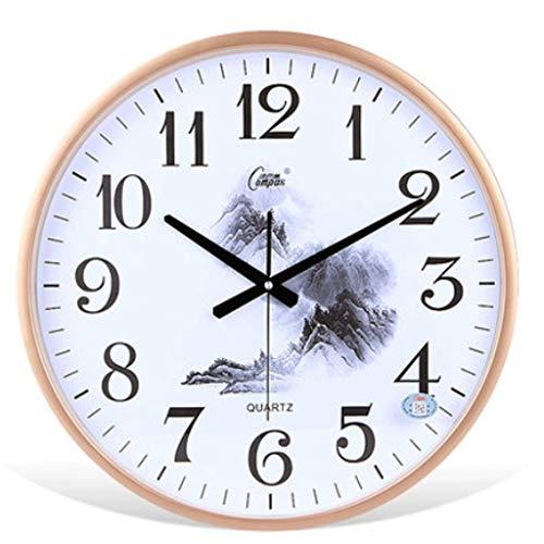 LZL 19 Pulgadas Moderno Reloj de Pared silencioso Sin tictac Fácil de Leer Relojes de Pared Decorativos para la decoración de la Sala de Estar Home Office Kitche (Color : Gold)