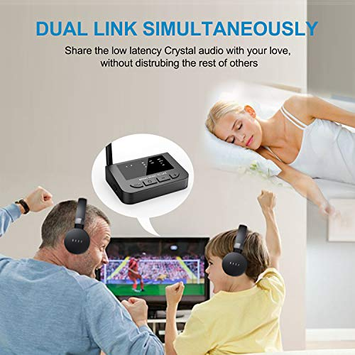 Golvery Long Range Bluetooth 5.0 Transmitter Receiver for TV with Audio Pass-Thru Feature, Plug & Play, Supports AptX Low Latency/HD, Dual Stream, AUX Optical Wireless Adapter for Home Stereo