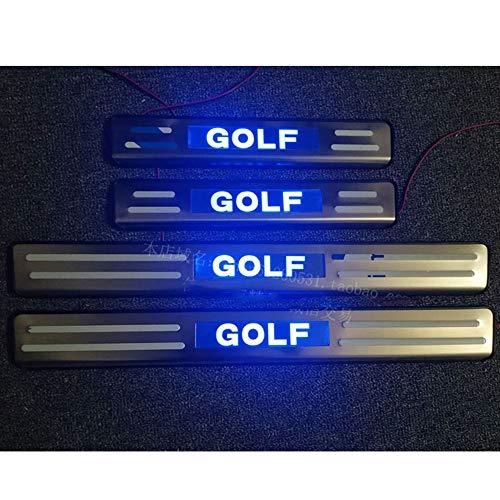 4 Stück Auto Türschwelle Einstiegsleisten mit LED-Licht für Golf 6 MK6 Golf 7 MK 7 GTI 7R, Türschweller Pedal...