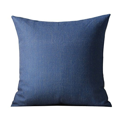 HOMEE Village Sofa Pillow Suite Included Studies on the Pad Large Solid Color Pillow Cotton Linen Car Back Cushion Kit,Marina Blue,44X44