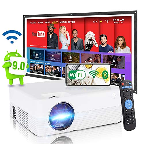 SCISHION Smart Projector,Android WiFi Bluetooth Projector,Mini Portable Wireless Outdoor Movie Projector,Home Entertainment,Compatible with Bluetooth/Smart Phone/Laptop/USB/SD Card