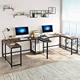 Tribesigns 126 inch Double Computer Desk, Extra Long Two Person Desk, Large Office Desk Writing Table Computer Workstation with Printer Stand Shelf and Tower Storage for Home Office