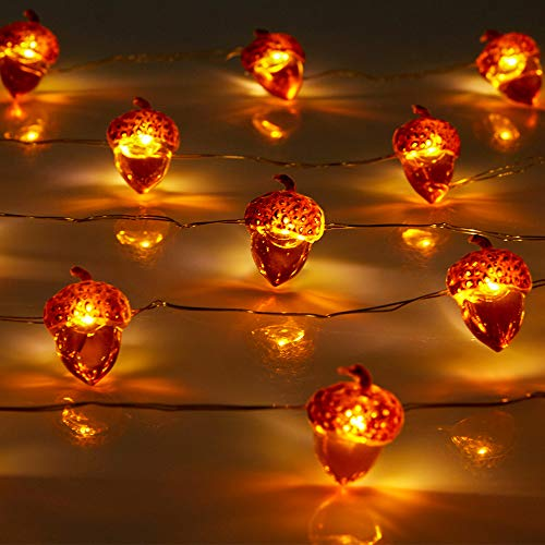 Acorn LED String Lights, 40 LEDs 10foot Light String Battery Powered with Remote Fall Party Autumn Decoration Thanksgiving Festival Indoor Fireplace Mantel Xmas Decor Ornaments