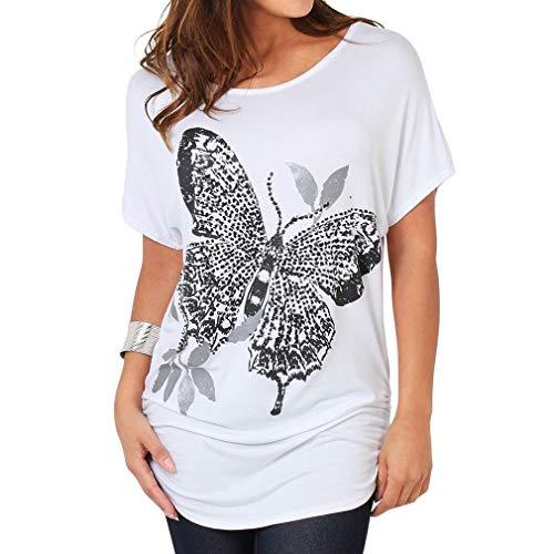 Damen Frauen Kurzarm T Shirtl Einfarbig Drucken Schmetterling Chic Bluse Tops Sommer...