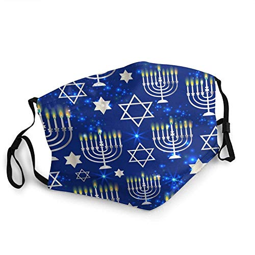 Happy Hanukkah Shining Background with Menorah Men's and Women's Mouth Face Mask Anti Breathable Filter Dust Absorb Sweat Washable Reusable Masks for Cycling Camping Ski Travel Outdoor Mask